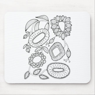 Whimsical Floral Spray Line Art Design Mouse Pad