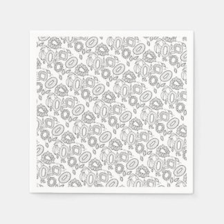 Whimsical Floral Spray Line Art Design Paper Napkins