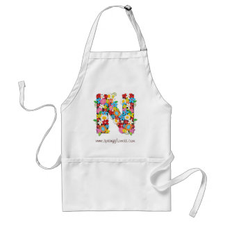 Whimsical Floral Spring Flowers Monogram Apron