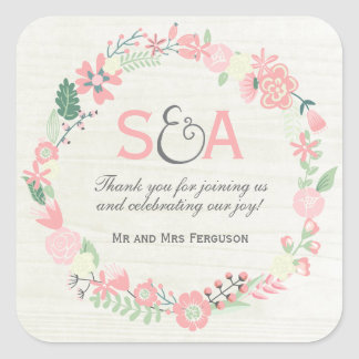 Whimsical Floral Thank You Favours Square Sticker