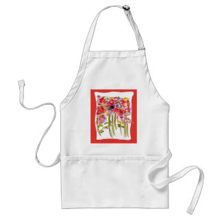 Whimsical Floral Watercolor Adult Apron