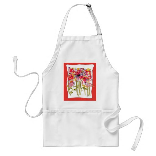 Whimsical Floral Watercolor Apron