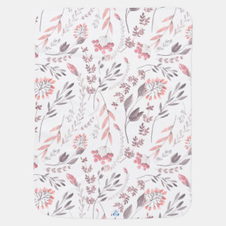 Whimsical Floral Watercolor Baby Blanket