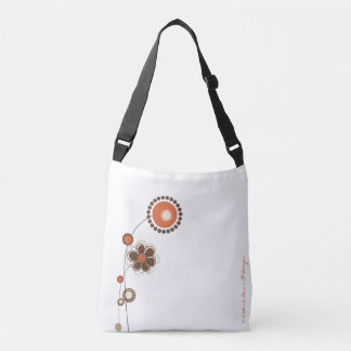 Whimsical Floral White Orange Modern Pattern Crossbody Bag