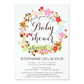 Whimsical Floral Wreath Baby Shower Invitation
