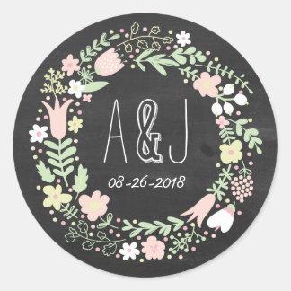 Whimsical Floral Wreath Chalkboard Monogram Round Sticker