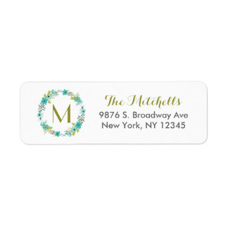 Whimsical Floral Wreath Monogram Return Address Label