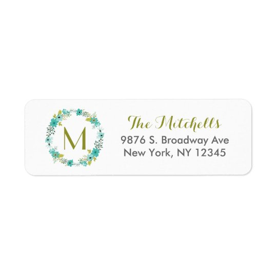 Whimsical Floral Wreath Monogram Return Address Label