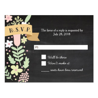Whimsical Floral Wreath on Chalkboard RSVP Postcard