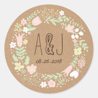 Whimsical Floral Wreath on Craft Paper Monogram Round Sticker