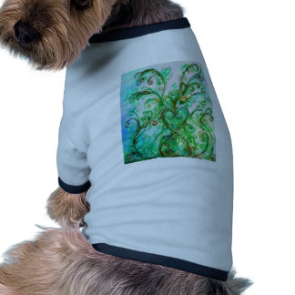 WHIMSICAL FLOURISHES bright blue green Dog Clothes