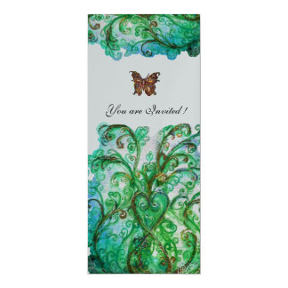 WHIMSICAL FLOURISHES bright blue green silver 10 Cm X 24 Cm Invitation Card
