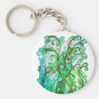 WHIMSICAL FLOURISHES bright green yellow blue Keychains