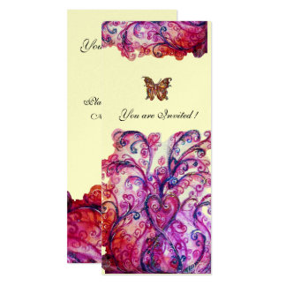 WHIMSICAL FLOURISHES bright red pink purple silver 10 Cm X 24 Cm Invitation Card