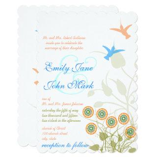 Whimsical Flower & Humming Bird Wedding Invitation