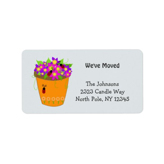 Whimsical Flower Pot New Address Label