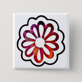 Whimsical Flower Power Doodle 15 Cm Square Badge