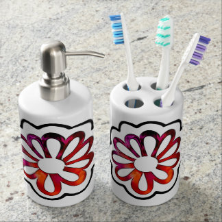 Whimsical Flower Power Doodle Bath Accessory Set