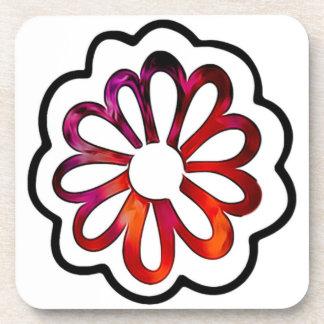 Whimsical Flower Power Doodle Beverage Coaster