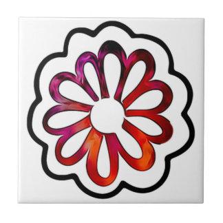 Whimsical Flower Power Doodle Ceramic Tile