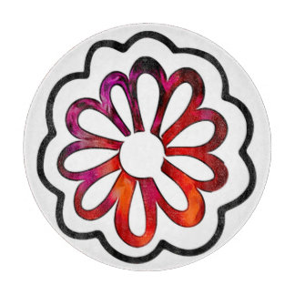 Whimsical Flower Power Doodle Cutting Board