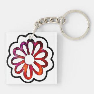 Whimsical Flower Power Doodle Key Ring