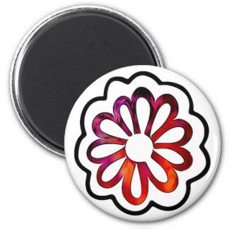 Whimsical Flower Power Doodle Magnet
