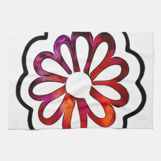 Whimsical Flower Power Doodle Tea Towel