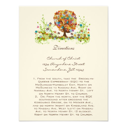 Whimsical Flower Tree Wedding Direction Cards Invitations