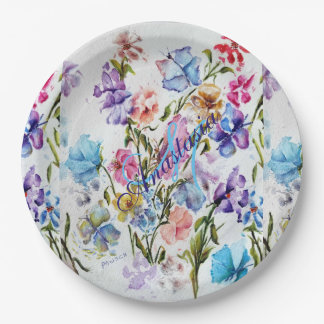 WHIMSICAL FLOWERS AND BUTTERFLIES MONOGRAM PARTY PAPER PLATE