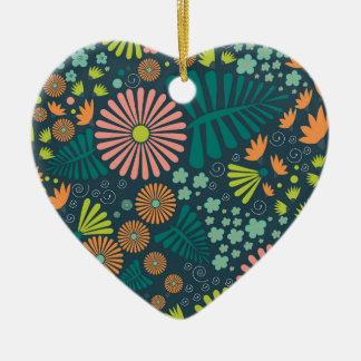 Whimsical Flowers Ceramic Heart Decoration