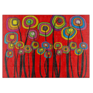 Whimsical Flowers Cutting Board RED