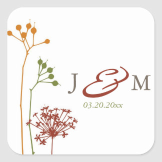 Whimsical Flowers Envelope Seals Square Sticker