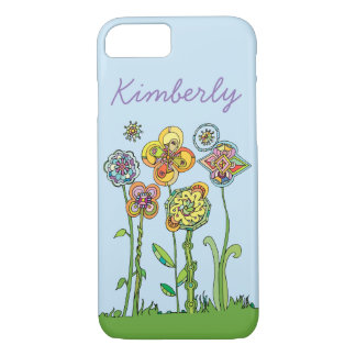 Whimsical Flowers l Personalize + DIY background iPhone 8/7 Case