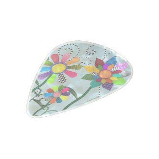Whimsical Flowers Pearl Celluloid Guitar Pick