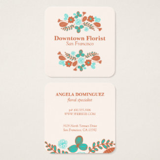 Whimsical Flowers Square Business Card