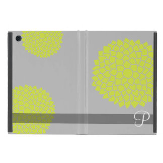 Whimsical Flowers with Lime Green and Monogram iPad Mini Cover