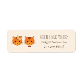 Whimsical Forest Cats (Cream) Wedding Return Address Label