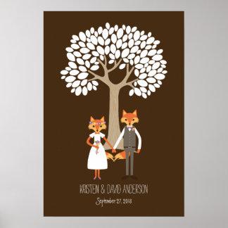 Whimsical Foxes Wedding Fingerprint Signature Tree Poster