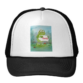 Whimsical Frog with Thanks Thank You Sign Funny Cap