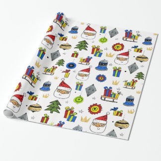 Whimsical Fun Ornaments Modern Festive Christmas Wrapping Paper