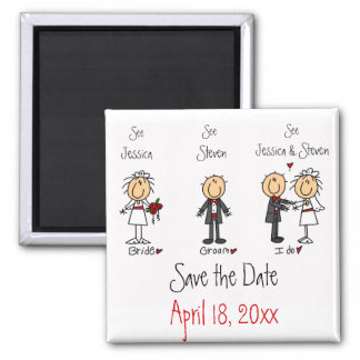 Whimsical Fun Save the Date Square Magnet