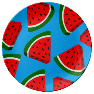 whimsical funky retro watermelon porcelain plate