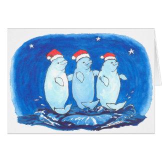 Whimsical Funny Alaska Beluga Whale Christmas Card