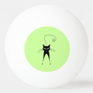 Whimsical Funny trendy black cat Ping Pong Ball