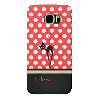 Whimsical Funny trendy black cat polka dots Samsung Galaxy S6 Cases