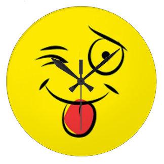 whimsical funny winking tongue cheeky emoji clock