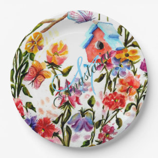 WHIMSICAL GARDEN BIRD HOUSE MONOGRAM PARTY PAPER PLATE