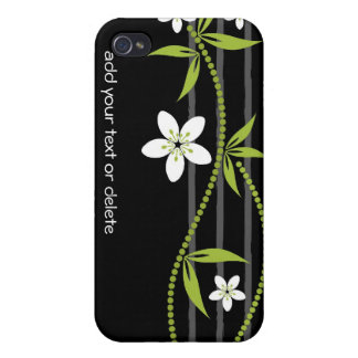 Whimsical Garden Black i iPhone 4 Cases