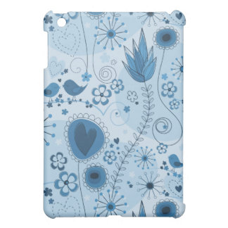 Whimsical garden in blue iPad mini cases